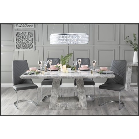 Urban Deco Milan 160cm Grey Marble Dining Table With...
