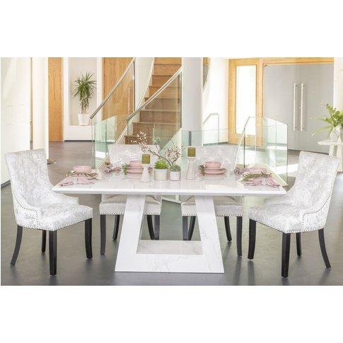 Buy Urban Deco Milan White Marble 160cm Dining Table...