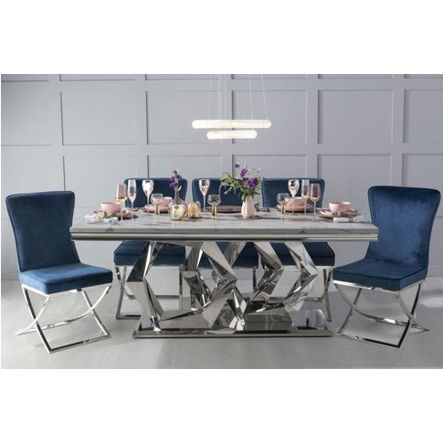 Urban Deco Octa 200cm Grey Marble And Chrome Dining Table With 6 Lyon Blue Chairs