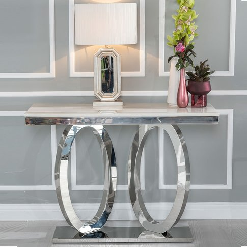 Urban Deco Orbit Console Table - Cream Marble And St...