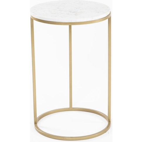 Pimlico White Marble Top Gold Side Table