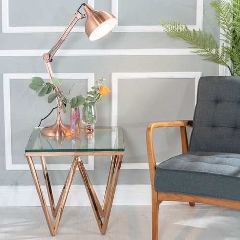 Prism Side Table - Glass And Stainless Steel Rose Go...
