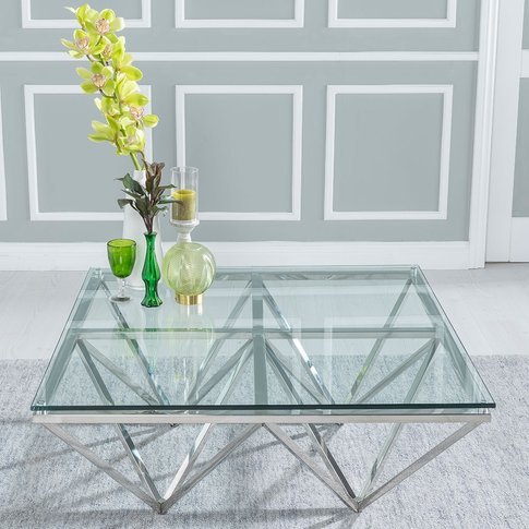 Urban Deco Maze Coffee Table - Glass And Stainless S...