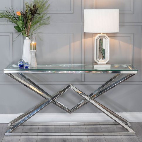 Urban Deco Pyramid Console Table - Glass And Stainle...