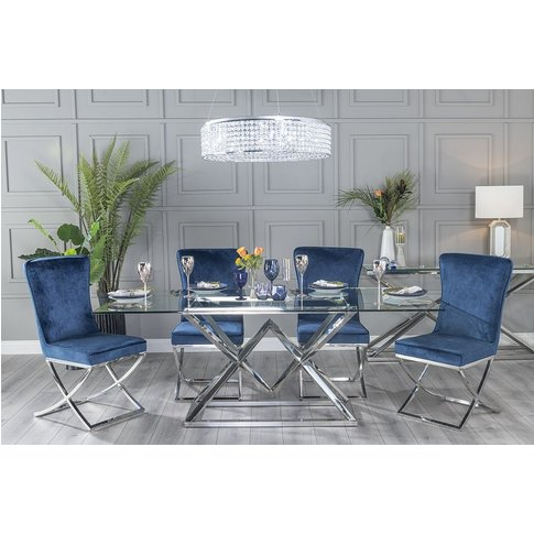 Pyramid Dining Table With Lyon Tufted Back Blue Fabr...