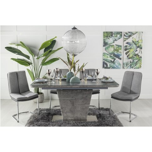 Buy Urban Deco Rimini Ceramic Effect Black Glass 160-200cm Dining Table With 4 Tucson Grey Chairs And Get 2 Extra Chairs Worth &Pound;178 For Free