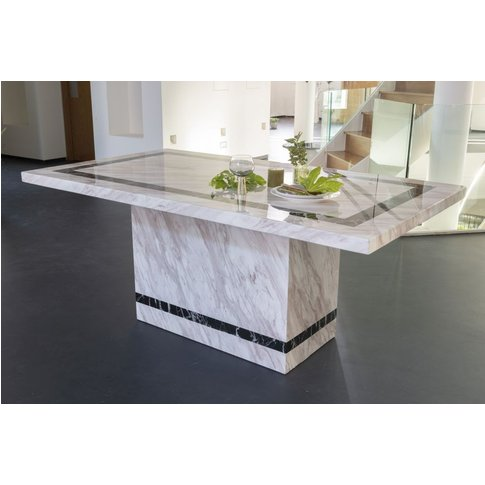 Rome Cream Marble Dining Table - Rectangular 200cm  ...