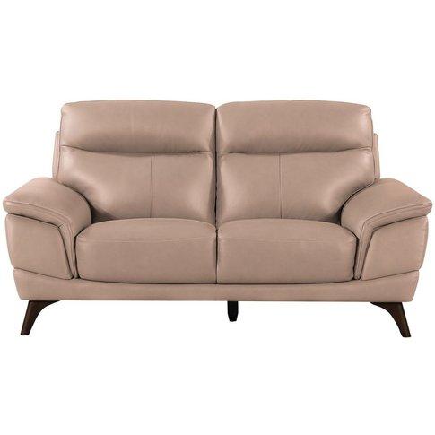 Vida Living Cosimo Taupe Leather 2 Seater Fixed Sofa