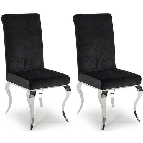Vida Living Louis Dining Chair (Pair) - Black Fabric...