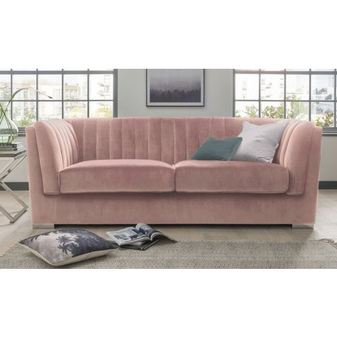 Vida Living Upton Grand Blush Velvet 3 Seater Sofa