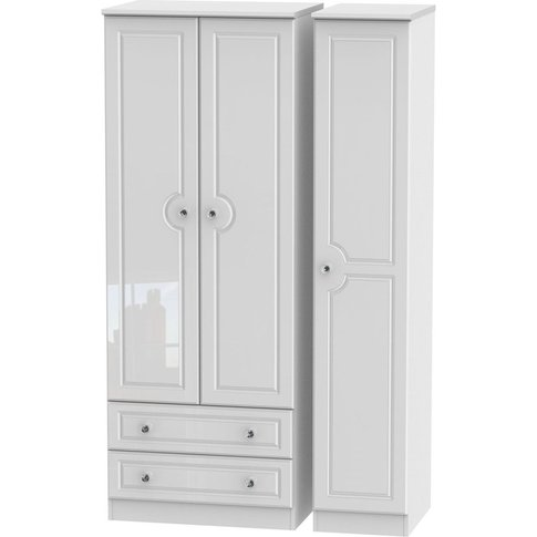 Balmoral White High Gloss 3 Door Triple Wardrobe - T...