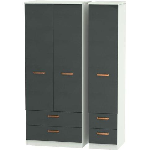 Buckingham Graphite 3 Door Triple Wardrobe - With Dr...