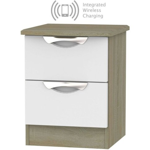 Camden 2 Drawer Bedside Cabinet With Integrated Wire...
