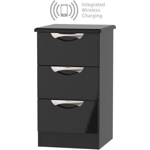 Camden High Gloss Black 3 Drawer Bedside Cabinet Wit...