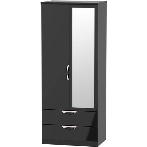 Camden High Gloss Black 2 Door Mirror Combi Wardrobe