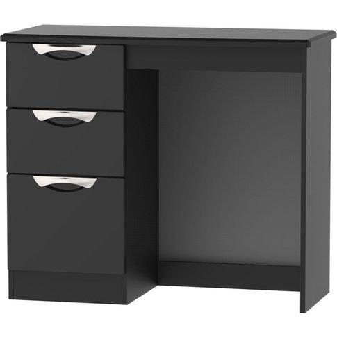 Camden High Gloss Black Single Pedestal Dressing Table