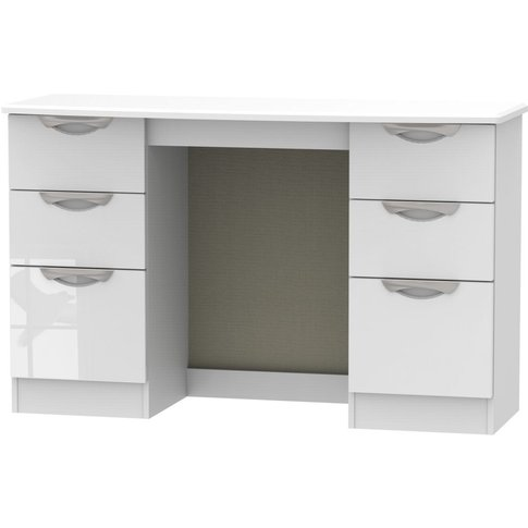 Camden High Gloss White Double Pedestal Kneehole Dressing Table