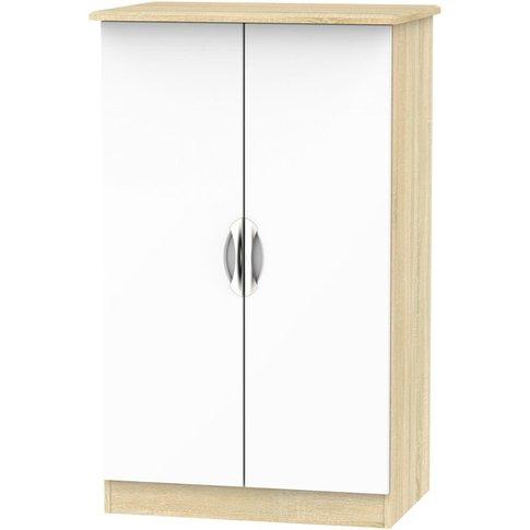 Camden 2 Door Midi Wardrobe - High Gloss White And B...