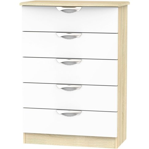 Camden 5 Drawer Chest - High Gloss White And Bardolino