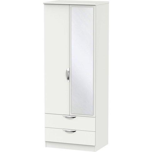 Camden Light Grey 2 Door 2 Drawer Tall Mirror Wardrobe