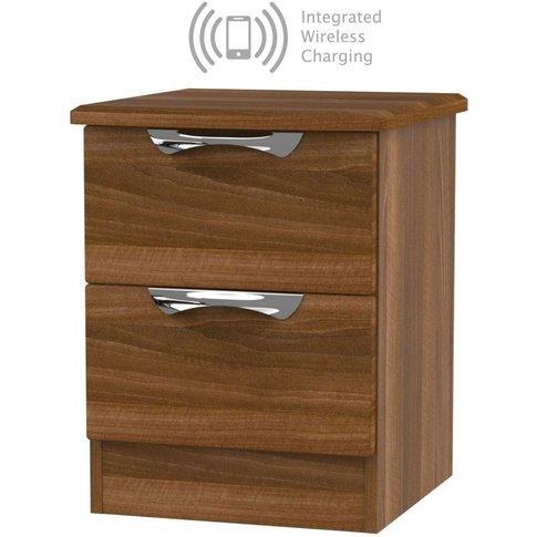 Camden Noche Walnut 2 Drawer Bedside Cabinet With In...