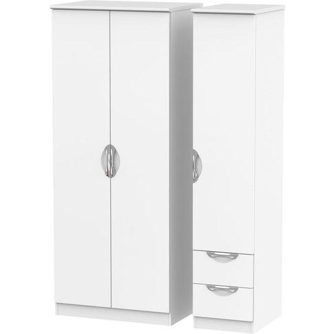 Camden White Matt 3 Door 2 Drawer Triple Wardrobe