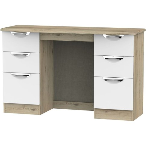 Camden Double Pedestal Dressing Table - White and Bo...