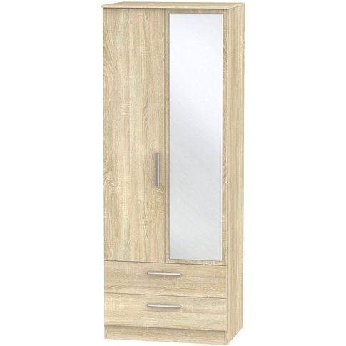 Contrast Bardolino 2 Door Double Wardrobe - Tall 2ft 6in With 2 Drawer And Mirror