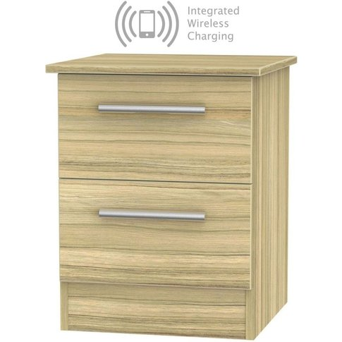 Contrast Cocobolo 2 Drawer Bedside Cabinet With Inte...