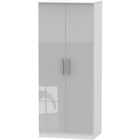 Contrast Grey High Gloss And White 2 Door Plain Ward...