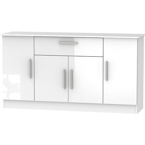 Contrast High Gloss White 4 Door 1 Drawer Wide Sideb...