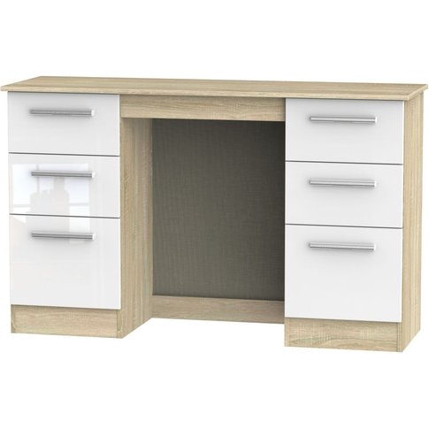 Contrast Double Pedestal Dressing Table - High Gloss...