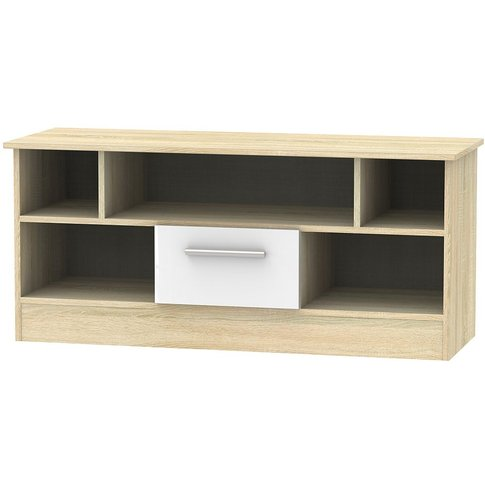 Contrast 1 Drawer Open Tv Unit - High Gloss White An...
