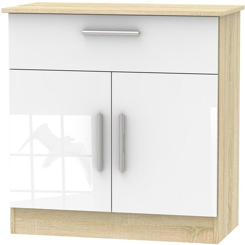 Contrast 2 Door 1 Drawer Narrow Sideboard - High Glo...