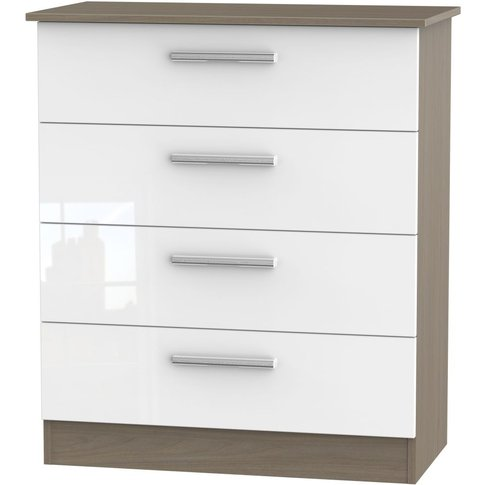 Contrast High Gloss 4 Drawer Chest - White And Toronto