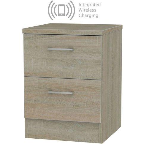 Devon Darkolino 2 Drawer Bedside Cabinet With Integr...