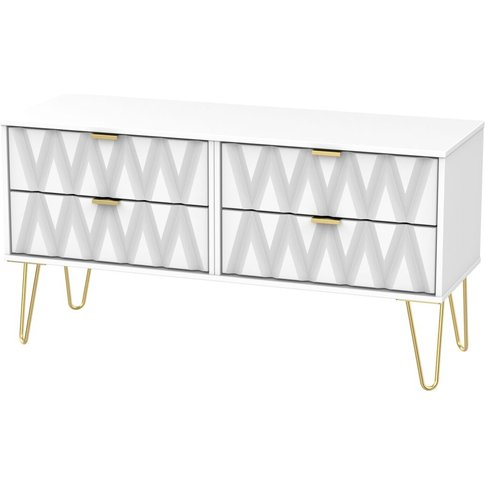 Diamond White Bed Box With Hairpin Legs