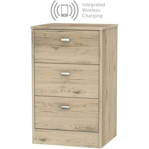 Dubai Bordeaux Oak 3 Drawer Bedside Cabinet With Integrated Wireless Charging