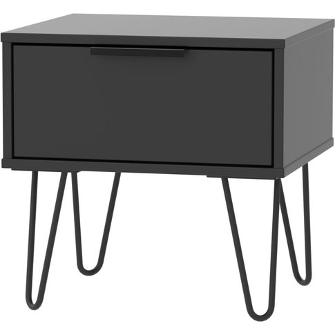 Hong Kong Black 1 Drawer Bedside Cabinet With Hairpi...