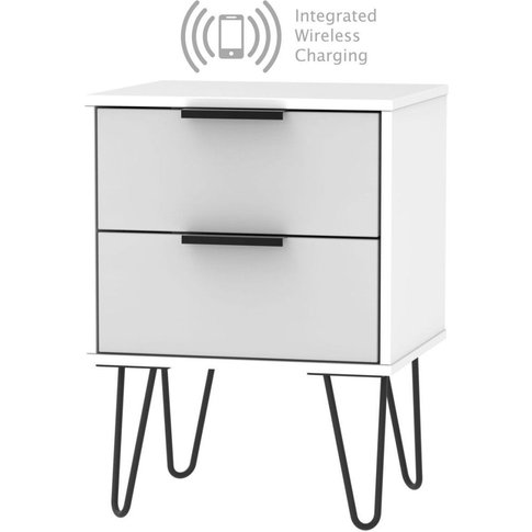 Hong Kong 2 Drawer Bedside Cabinet With Hairpin Legs...