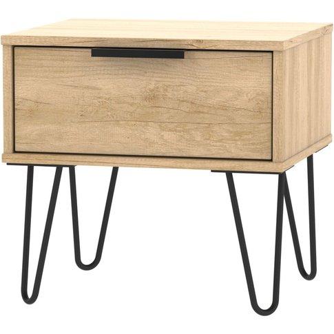 Hong Kong Nebraska Oak 1 Drawer Bedside Cabinet With...