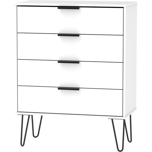 Hong Kong White 4 Drawer Chest With Hairpin Legs