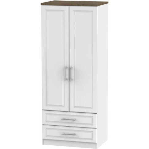 Kent White Ash And Oak 2 Door Double Wardrobe - 2ft ...