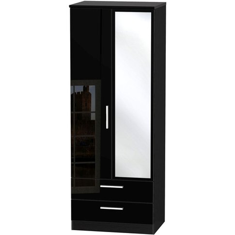 Knightsbridge High Gloss Black 2 Door Double Wardrob...