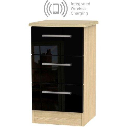 Knightsbridge 3 Drawer Bedside Cabinet With Integrat...