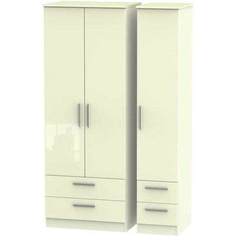 Knightsbridge High Gloss Cream 3 Door Triple Wardrob...