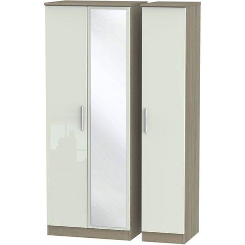 Knightsbridge 3 Door Tall Mirror Wardrobe - High Gloss Kaschmir And Darkolino