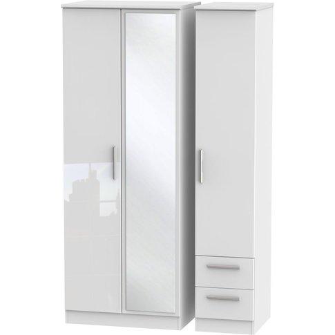 Knightsbridge High Gloss White 3 Door Triple Wardrob...