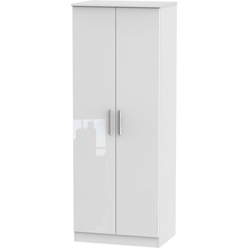 Knightsbridge High Gloss White 2 Door Wardrobe - Tal...