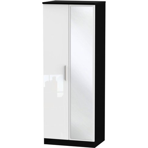 Knightsbridge High Gloss White And Black 2 Door Double Wardrobe - Tall 2ft 6in With Mirror